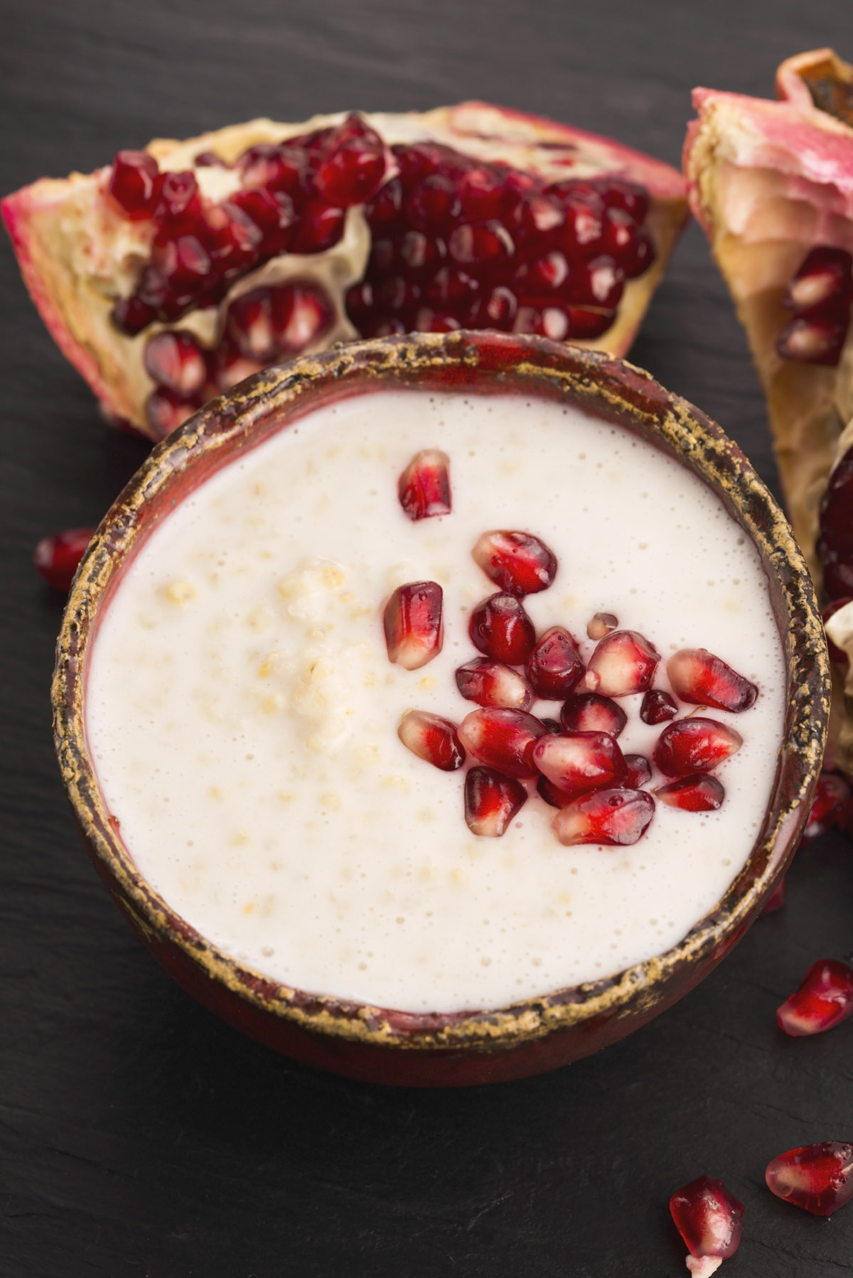 Creamy Coconut Pudding with Pomegranate Arils