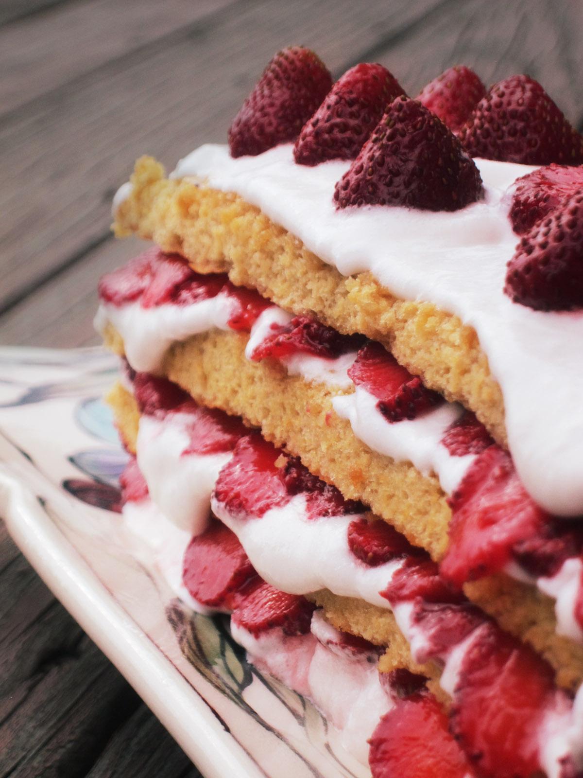 Strawberry Heart Berry Sponge Cake on Platter