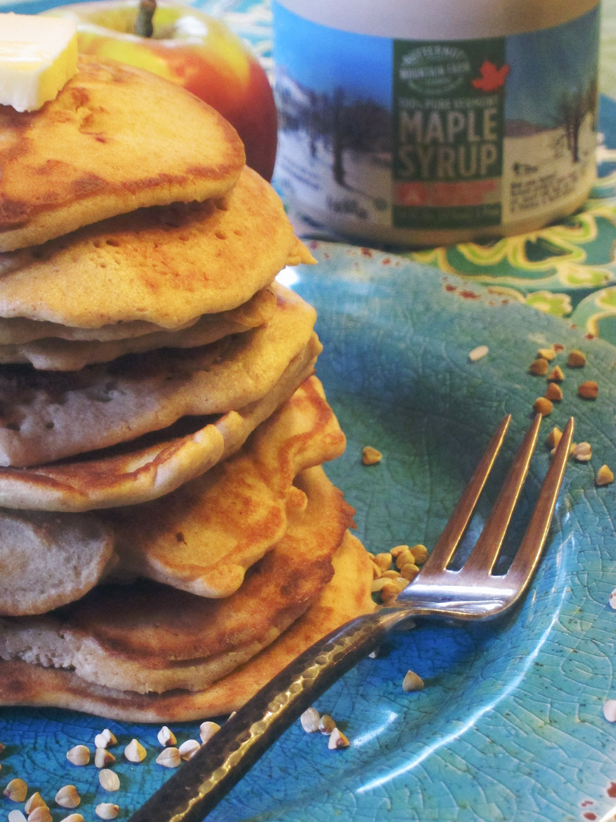 Buckwheat& Yogurt Pancakes with Apples (Gluten Free)