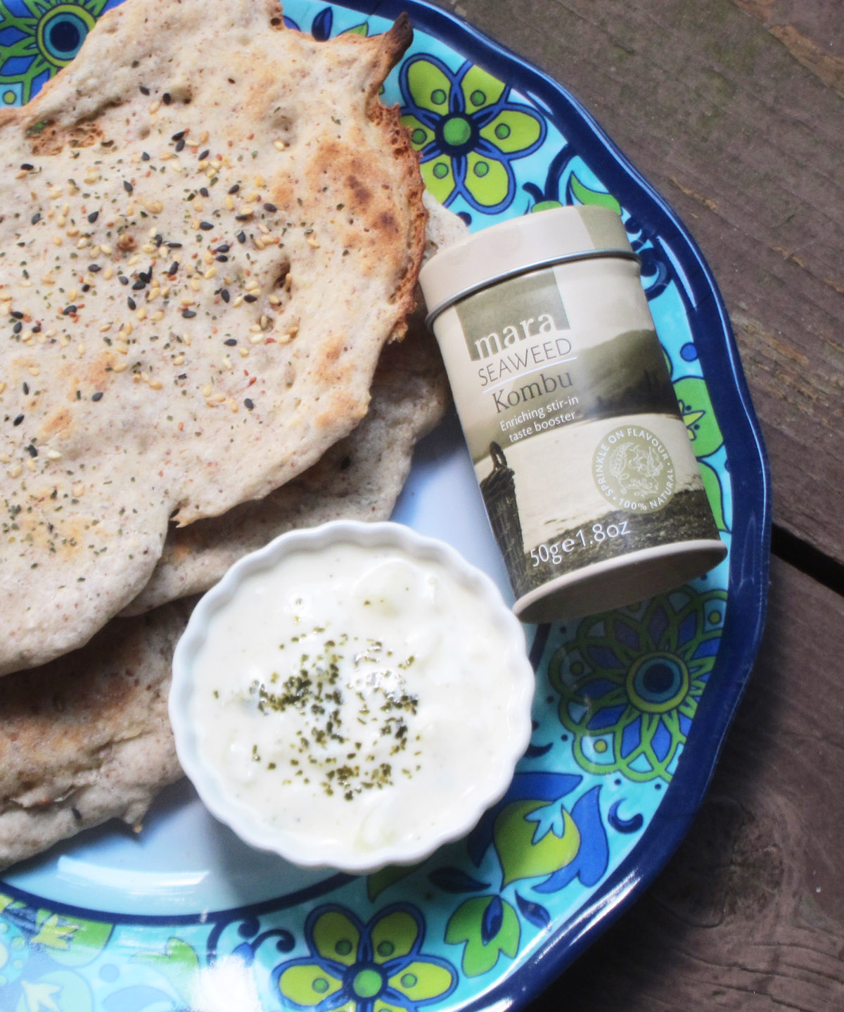 Grilled Millet Flatbreads with Sesame Seed and Kombu Seaweed Sprinkles