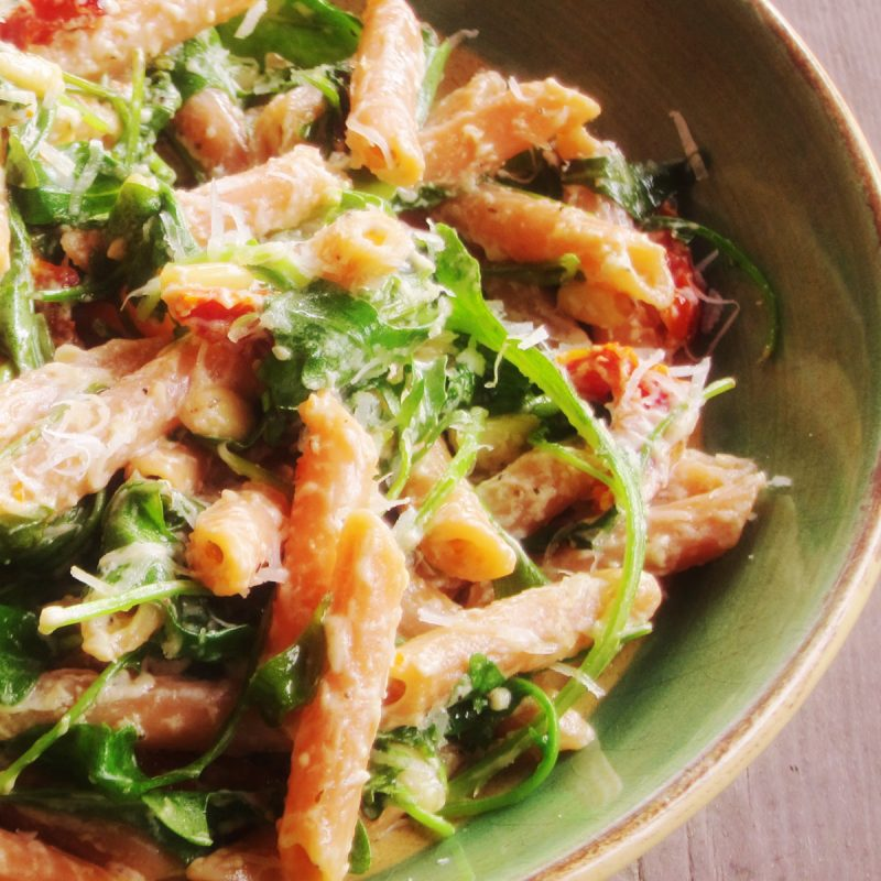 Red Lentil Pasta with Wilted Arugula, Sun-Dried Tomatoes and Goat ...
