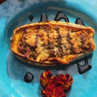 Delicata Squash with Savory Pork Stuffing and Balsamic Syrup