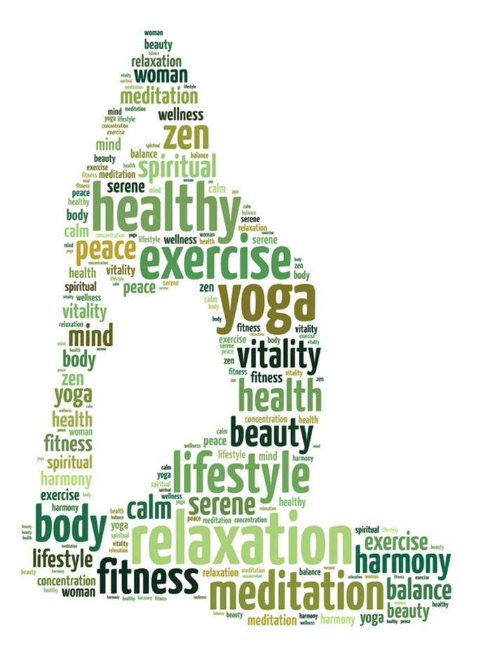 Words illustration of a woman doing yoga exercise over white background