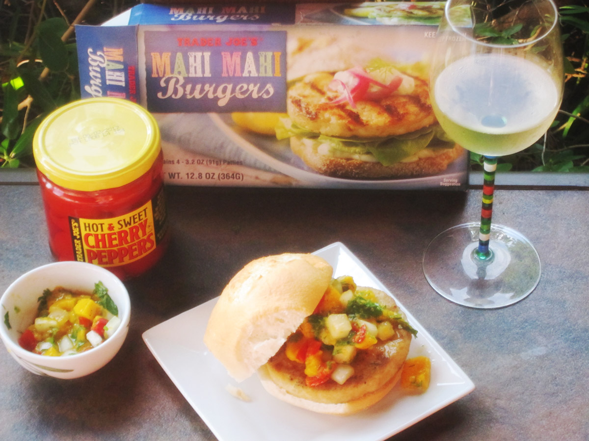 Grilled Mahi Burgers with Fresh Mango Salsa condiments