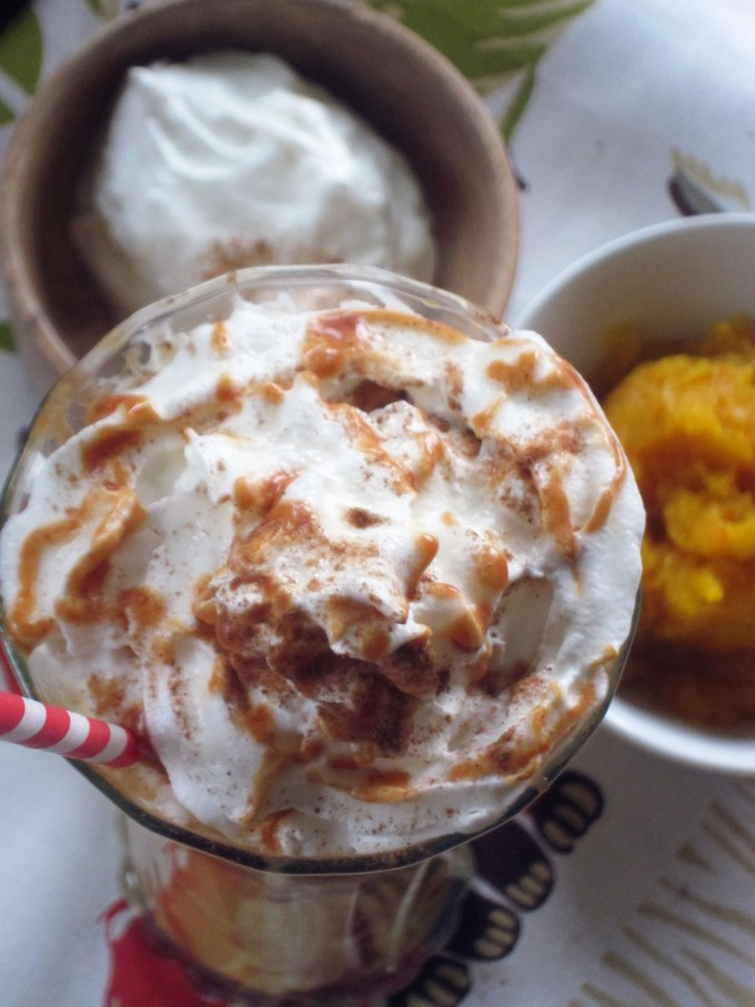 Pumpkin Pie Smoothie with Goat's Milk Caramel and Icelandic Skyr
