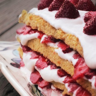 Strawberry (Heart Berry) Sponge Cake with Swiss Meringue and Coconut Cream (Grain Free, Dairy Free)