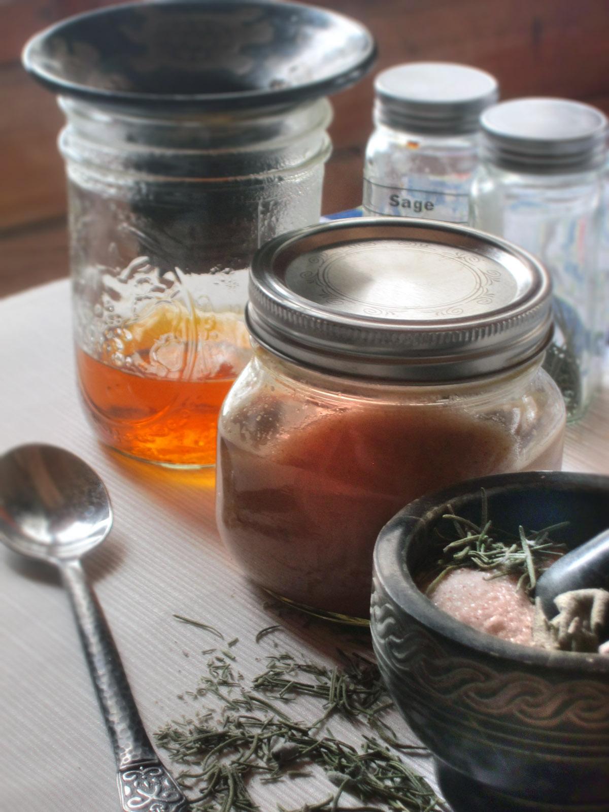 Salt Scrub - Jars and ingredients