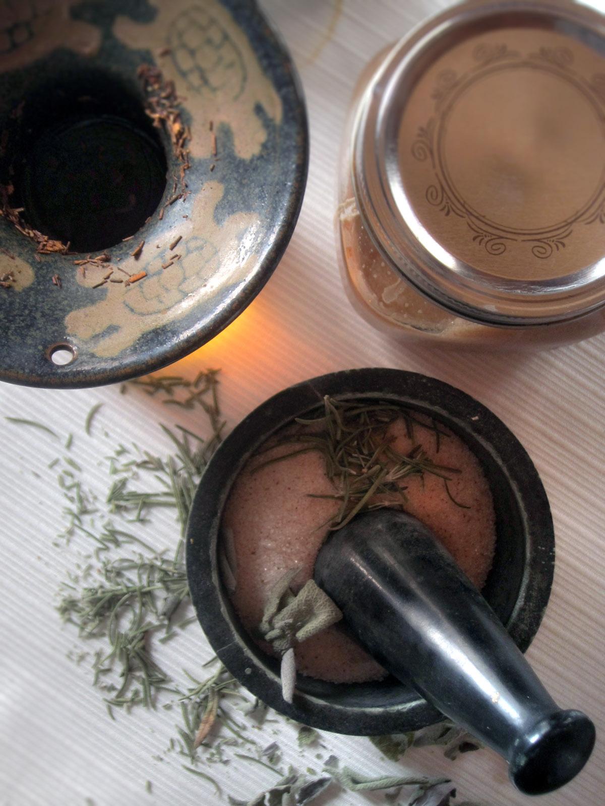 Salt Scrub - Jars and Ingredients (close up)